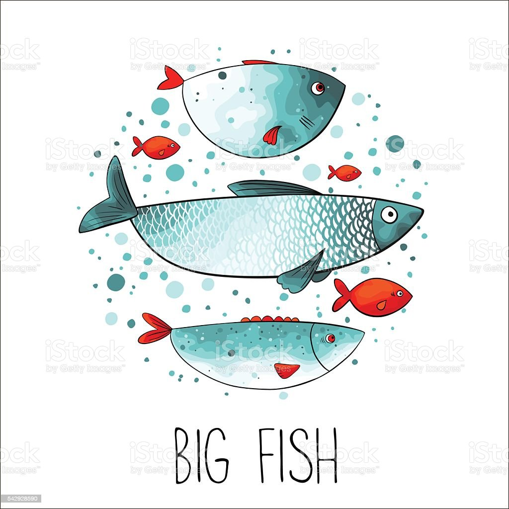 Funny fishes in circle. vector art illustration