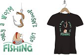 Funny fishing t-shirt print or sticker design. Vector template.