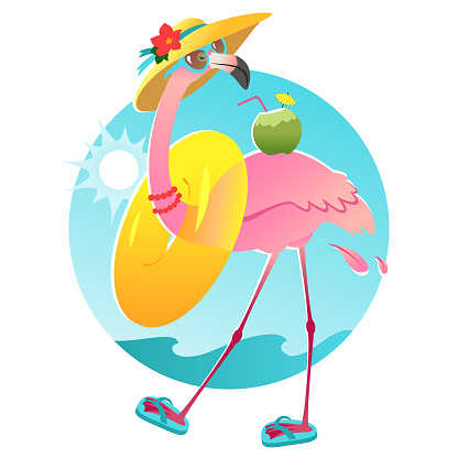 Funny flamingo character in sunglasses and sun hat