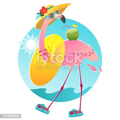 istock Funny flamingo character in sunglasses and sun hat 1316059661