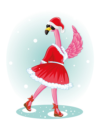 Funny Flamingo with santa hat and black glassless. Happy New Year greeting card
