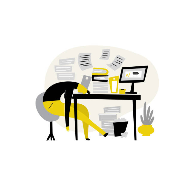 Funny flat vector illustration of tired male, lying on his work table at the office. Procrastination, professional burnout. Funny flat vector illustration of tired male, lying on his work table at the office. Procrastination, professional burnout mental burnout stock illustrations