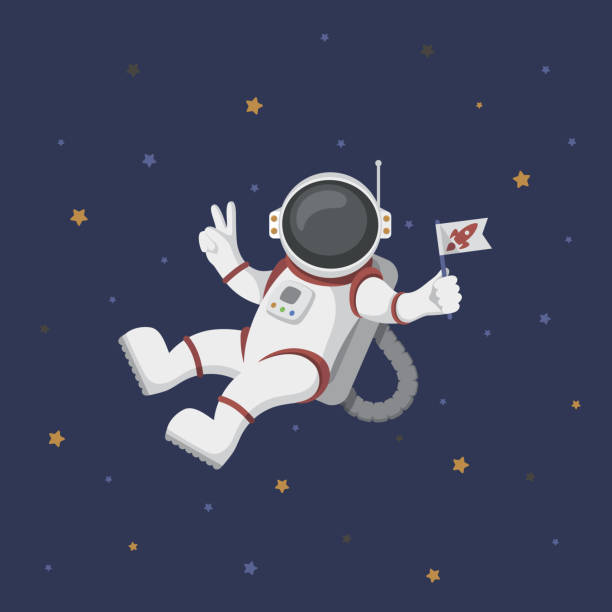 Funny flying astronaut in space with stars around Funny flying cartoon astronaut in space with stars around astronaut floating in space stock illustrations