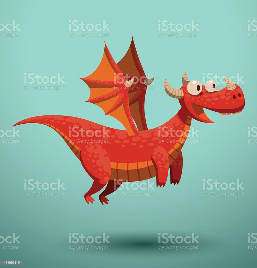 Funny flying dragon, red vector art illustration