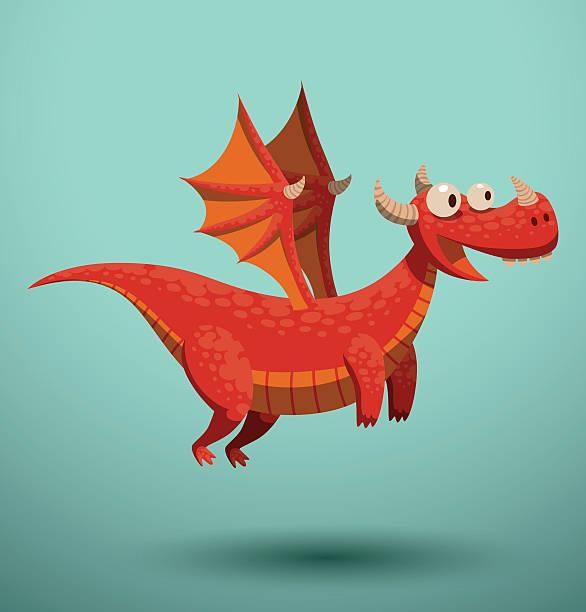 funny flying dragon, red - dragon stock illustrations, clip art, cartoons, & icons