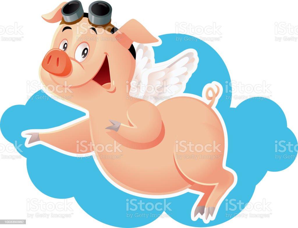 Lustig Flying Pig-Vektor-Cartoon-Illustration - Lizenzfrei 2019 Vektorgrafik