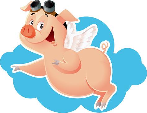 Lustig Flying Pigvektorcartoonillustration Stock Vektor Art und mehr Bilder von 2019