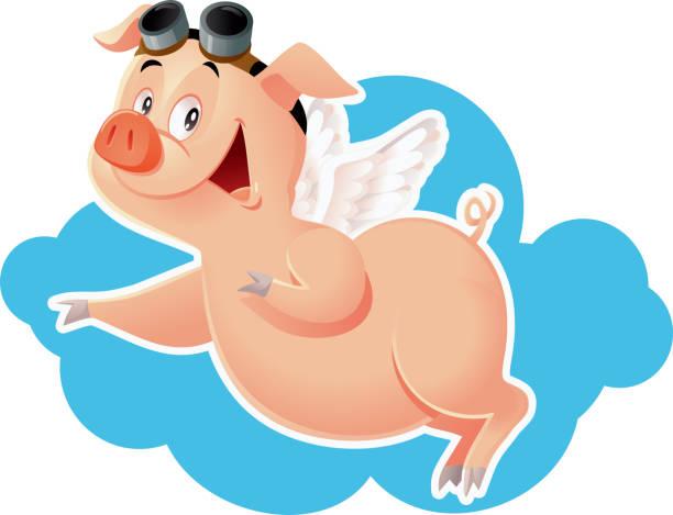 lustig flying pig-vektor-cartoon-illustration - extravagant schutzbrille stock-grafiken, -clipart, -cartoons und -symbole