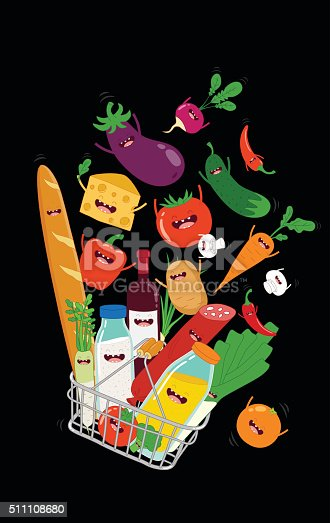 Supermarket shopping basket with fresh and natural  funny food and drink. Vector illustration