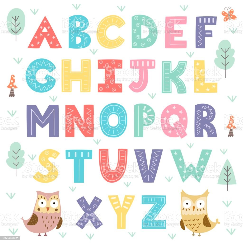 Lustige Wald Alphabet für Kinder – Vektorgrafik
