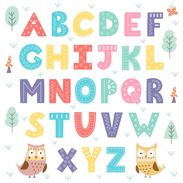funny forest alphabet for kids - cute stock illustrations
