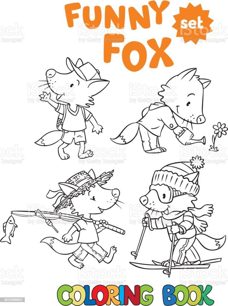 Conjunto Fox Divertido Libro Para Colorear - Arte vectorial de stock ...
