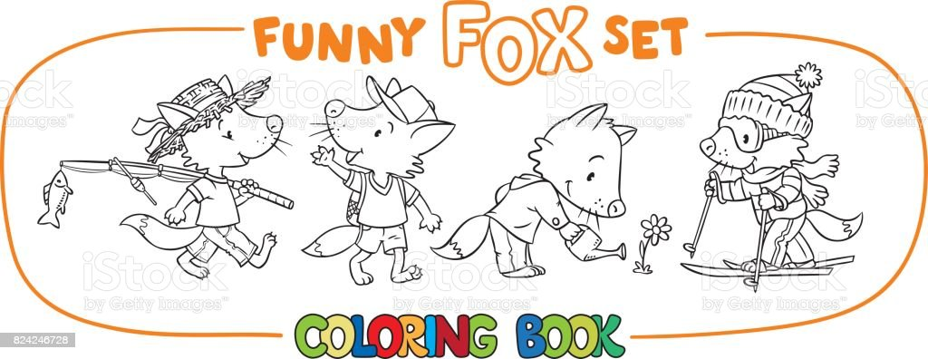 funny fox coloring book set royalty free stock vector art - Fox Coloring Book