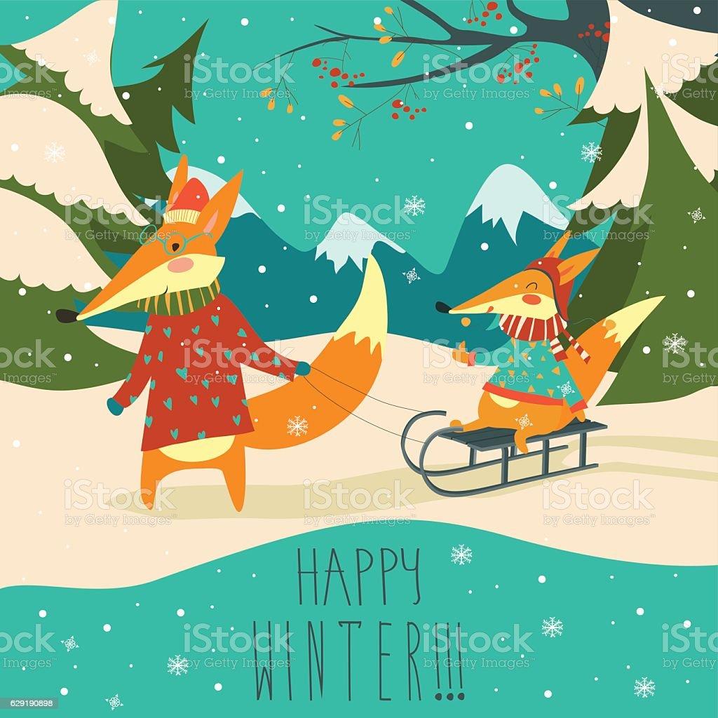 Funny foxes sledding vector art illustration