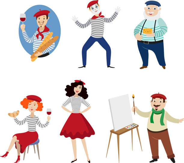 Funny French characters, people, food and culture Funny French characters, people, food and culture symbols of France, flat cartoon vector illustration isolated on white background. French people, mimes, artists, food - symbols of France french culture stock illustrations