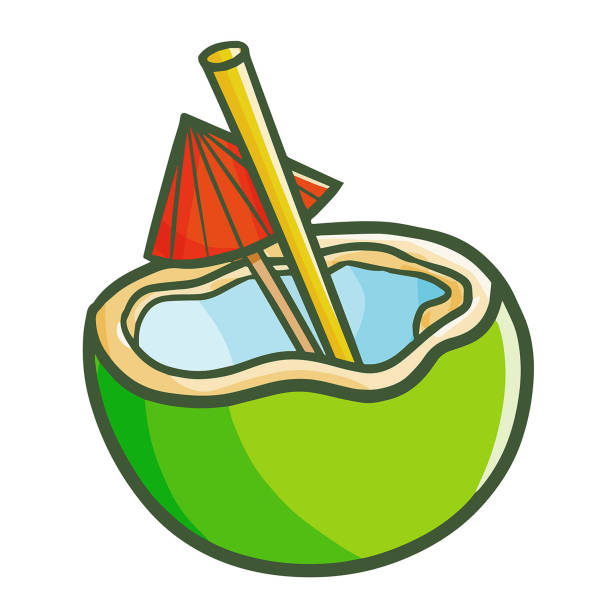 Royalty Free Coconut Cocktail With Straw And Umbrella Clip Art