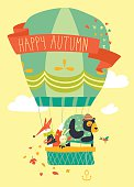 Funny friendly animals in hot air balloon. Vector illustration