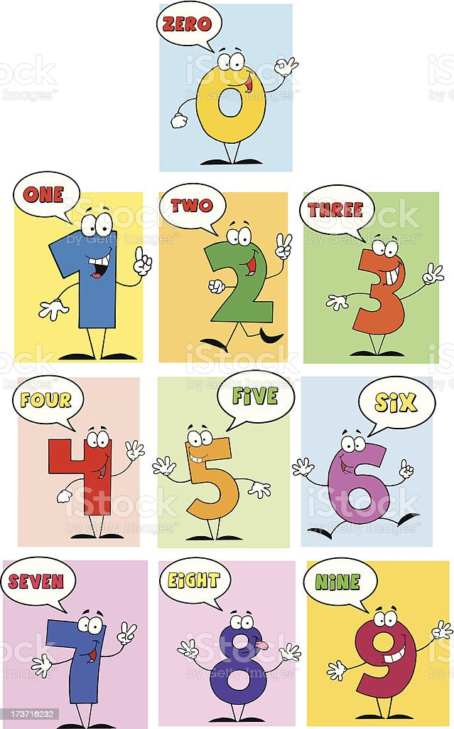 Funny Friendly Comics Numbers royalty-free stock vector art