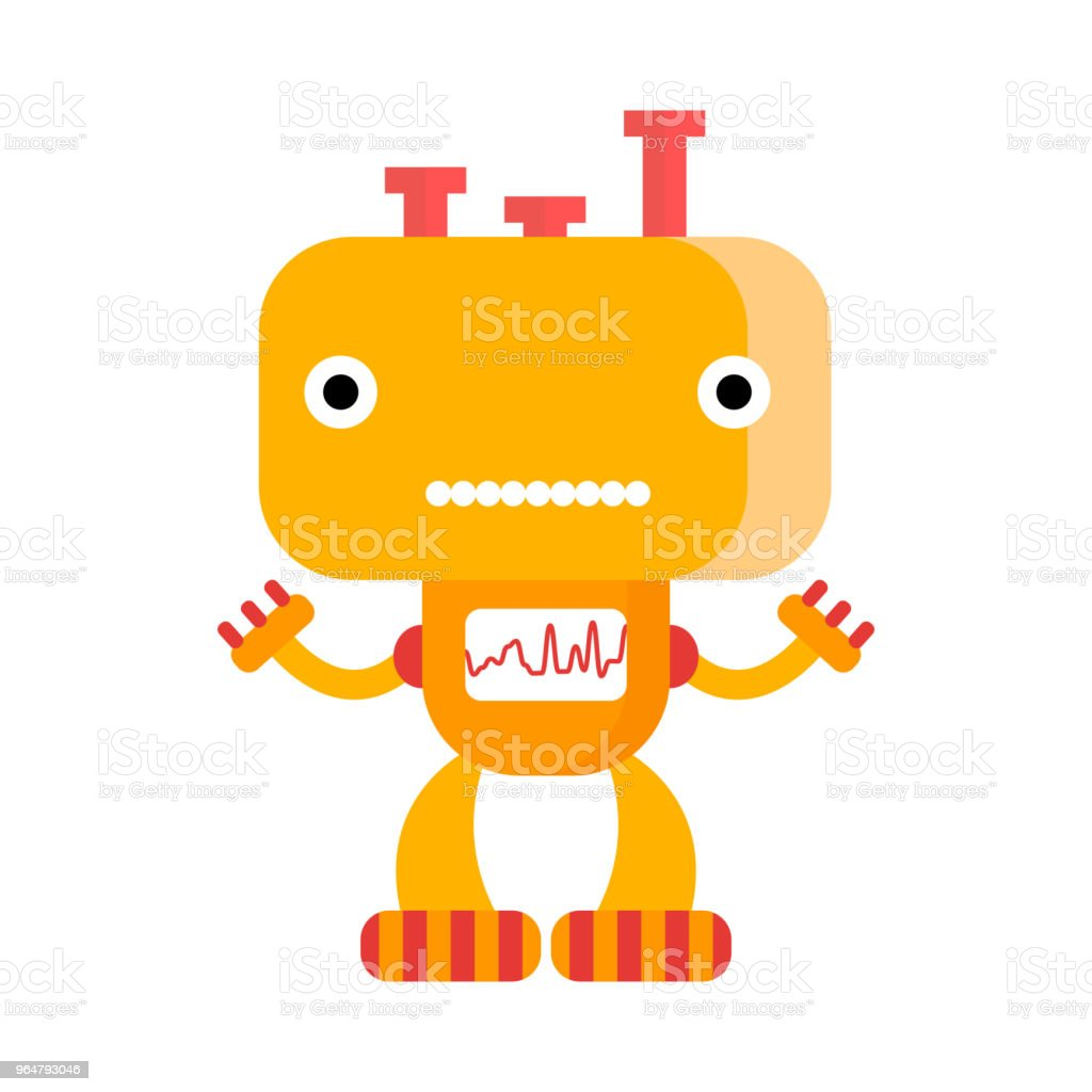 Funny friendly orange robot image royalty-free funny friendly orange robot image stock vector art & more images of animal