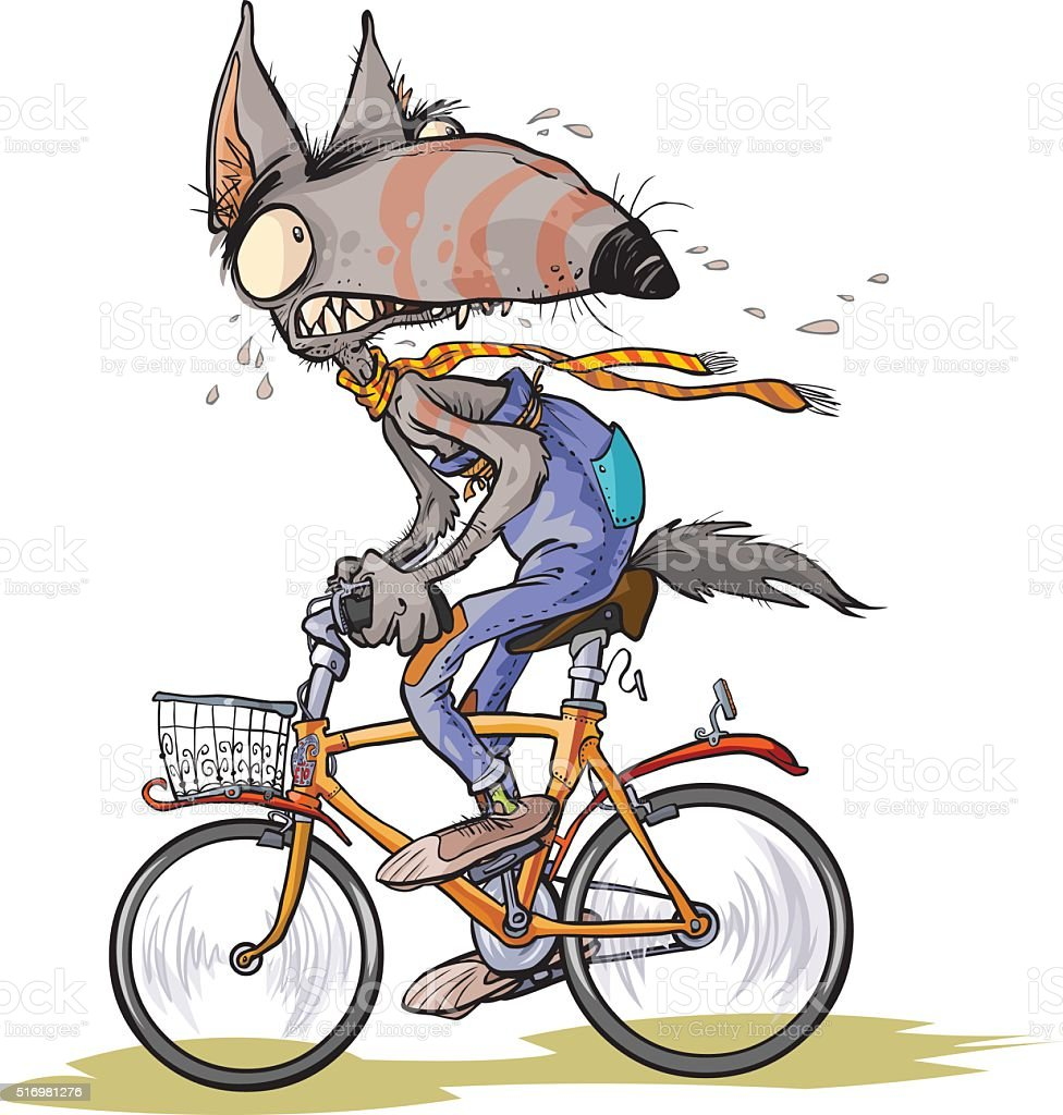 Funny frightened Wolf rides a bike. vector art illustration