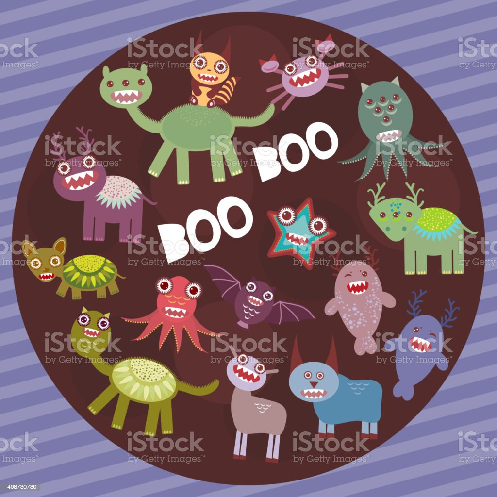Funny frightening monsters on purple striped background party card design.