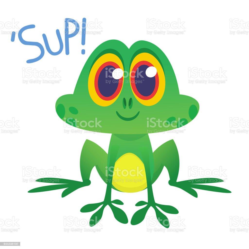 Lustige Frosch Zeichentrickfigur Sup Zu Sagen Vektorillustration ...