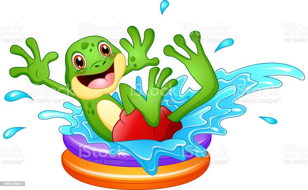 pool splash vector. Funny Frog Cartoon Sitting Above Inflatable Pool With Water Splash Royalty-free Vector N