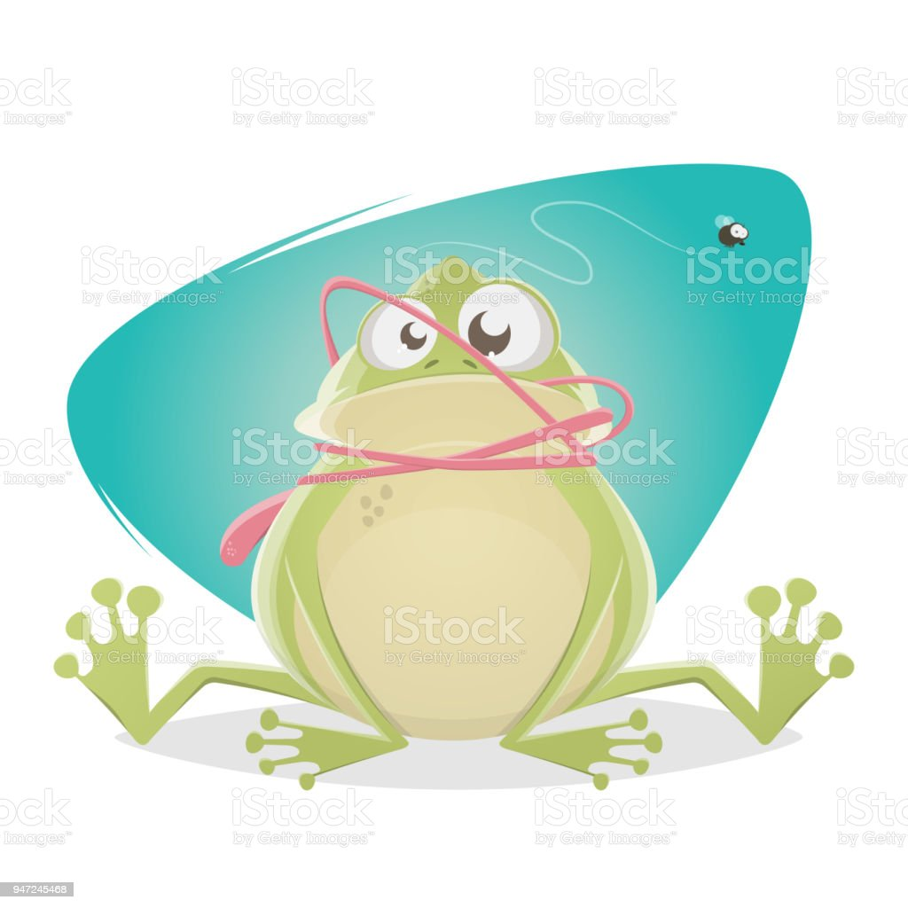 funny frog with tongue accident vector art illustration