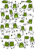 Funny frogs collection, sketch for your design. Vector illustration