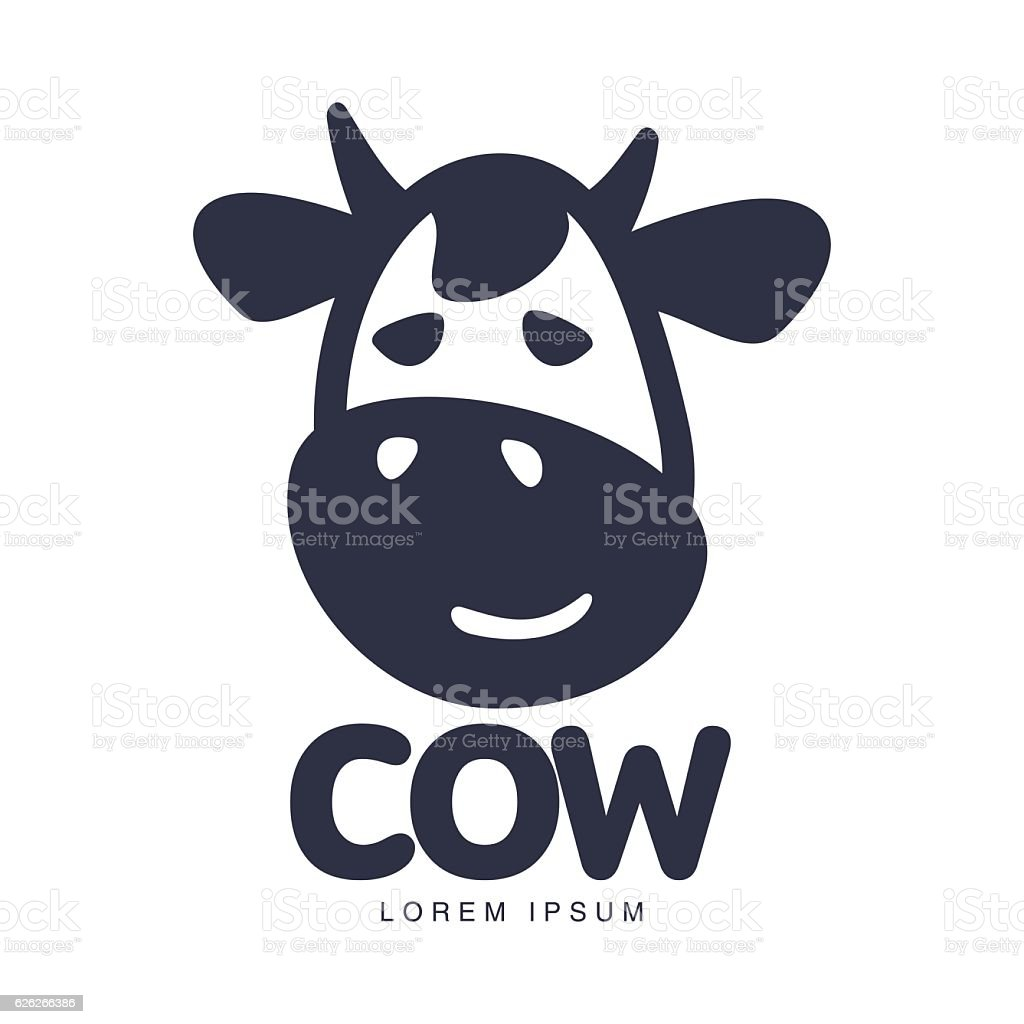Funny Front View Cow Head Logo Template Stock Vector Art & More ...
