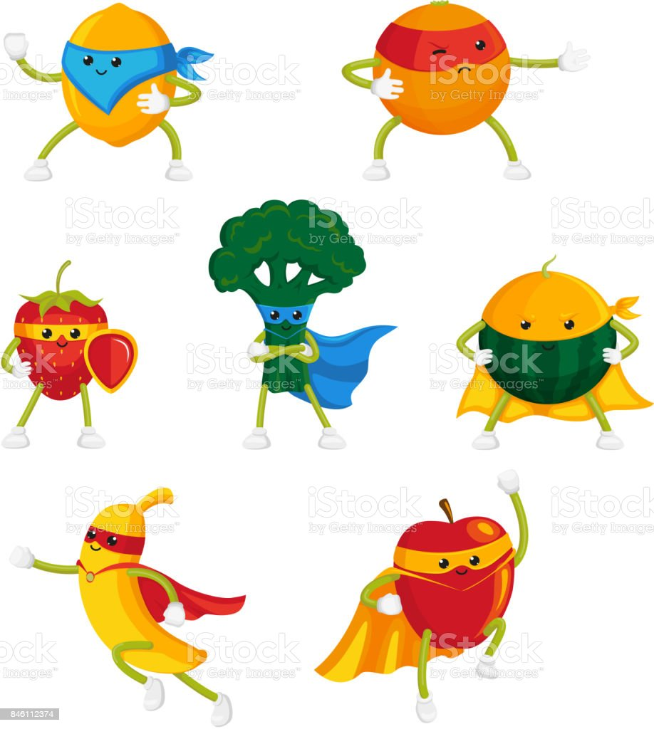 Funny fruit and berry hero, superhero characters vector art illustration