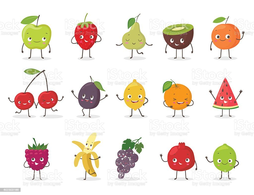 Funny fruit character set. Cartoon vector illustration