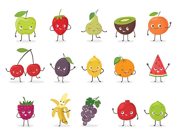 Funny fruit character set. Cartoon vector illustration - Illustration vectorielle