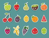 Funny fruit character stickers set. Cartoon vector illustration