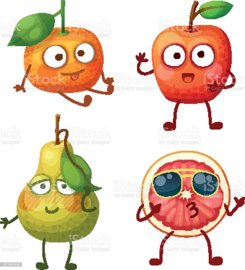 面白いフルーツの文字が白い背景で隔離陽気な食べ物絵文字漫画のベクトル イラスト かわいいみかん赤いリンゴ恥ずかしがり屋の緑色の洋ナシクールなグレープ フルーツ スライス みずみずしいのベクターアート素材や画像を多数ご用意 Istock