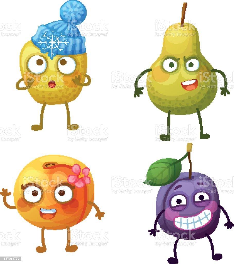 面白いフルーツの文字が白い背景で隔離陽気な食べ物絵文字漫画のベクトル