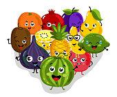 Cute fruit cartoon characters isolated vector illustration. Funny pineapple, orange, cherry, pomegranate, banana, kiwi, lemon, lime, watermelon, figs. Happy smile emoticon face, comical fruit mascot