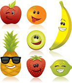 Set of fruit with funny faces. High res JPG of each illustration included.