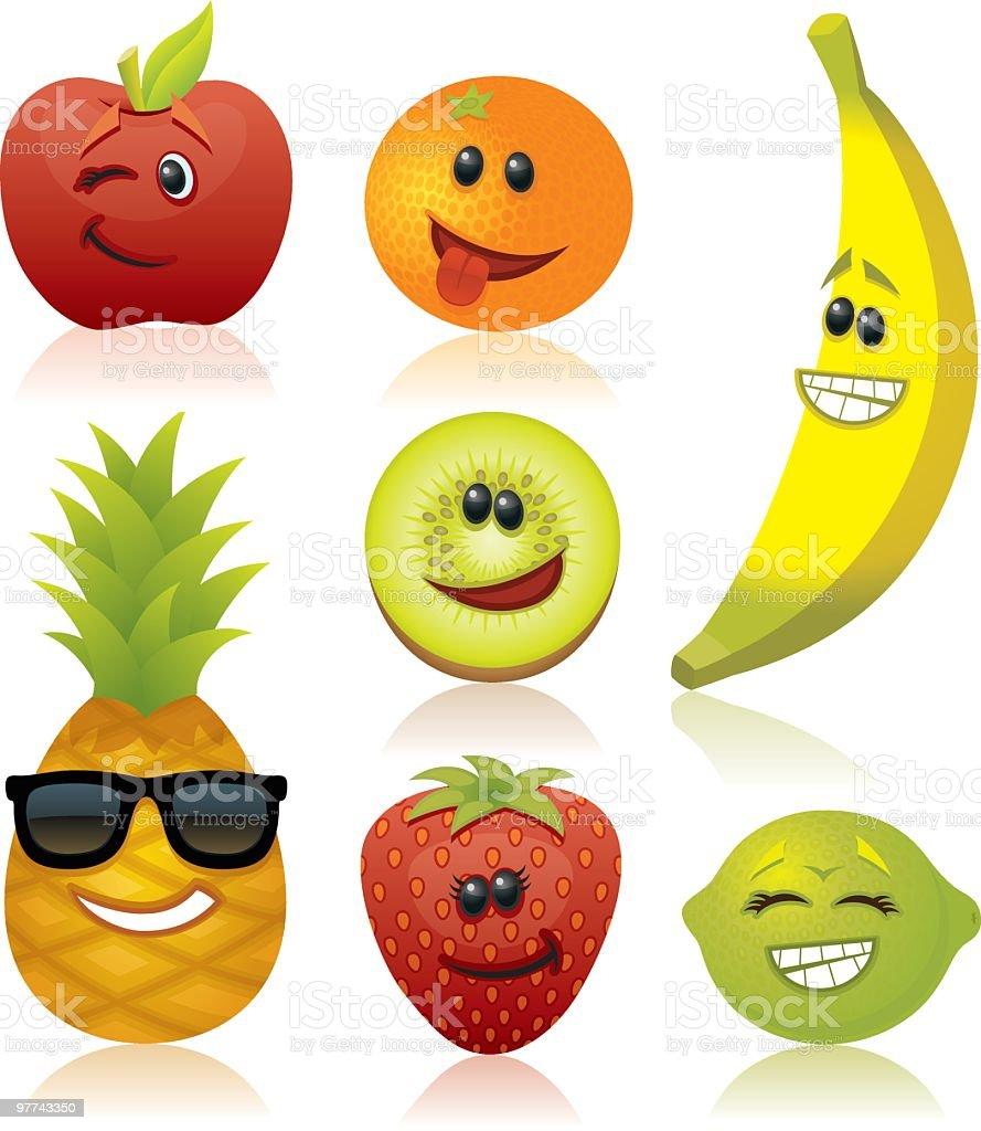 Funny Fruit vector art illustration