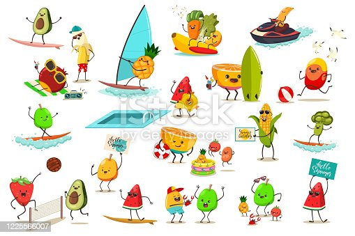 Cute kawaii fruit and vegetables are engaged in summer sports and recreation. Vector cartoon illustration isolated on white background.