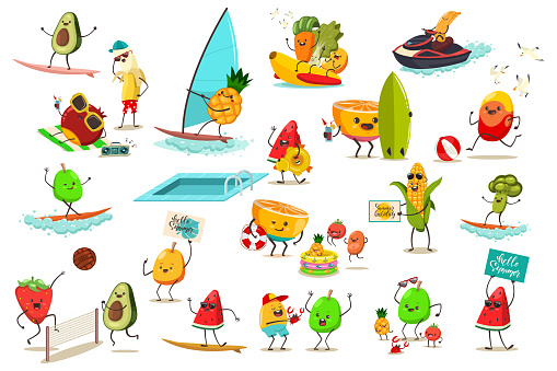 Funny fruits and vegetables are engaged in summer water and beach sports. Jet ski, banana boat, windsurfing, volleyball and surfing. Cute food cartoon character vector set isolated on background.