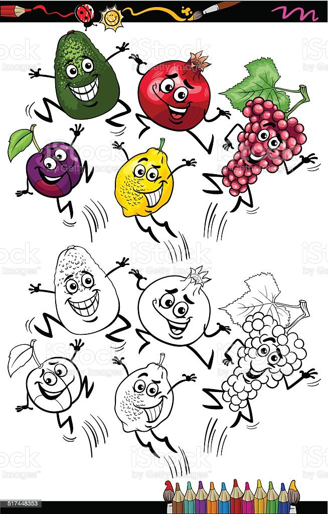 Cahier Coloriage Fruits.Page De Cahier De Coloriage De Dessin Anime Drole De Fruits Vecteurs