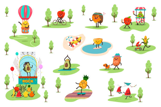 Funny fruits in the park spend different outdoor activities and play sports. Cute food vector cartoon characters set isolated on white background. Fruits in the park vector cartoon character. avocado clipart stock illustrations