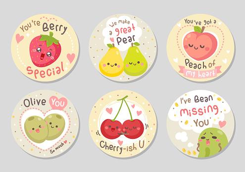 Funny fruits love quotes set - Circle