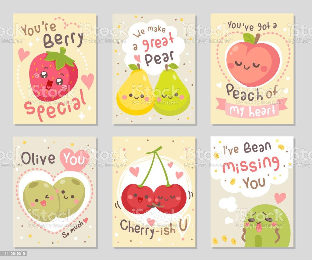 Ilustración De Frutas Divertidas Frases Amor
