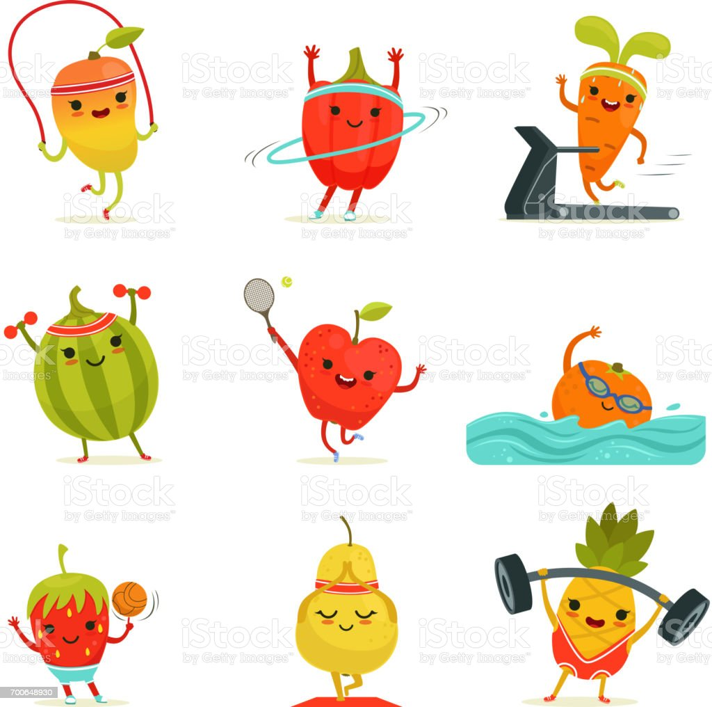 Funny fruits make fitness exercises. Vector cartoon set with diet foods vector art illustration