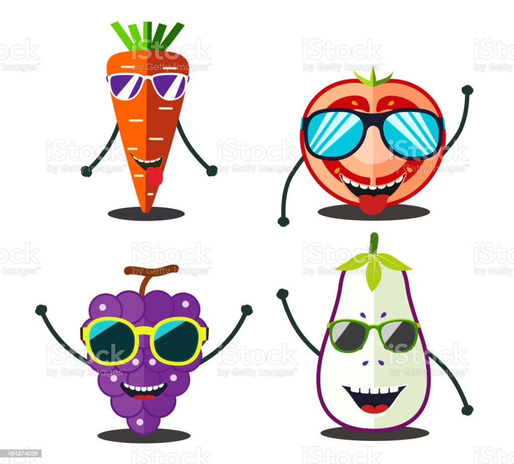 Lustiger Obst Bereit Design Comic Essen Karottentomatenscheiben