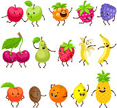Funny fruits with faces set. Cartoon characters vector illustration with cute healthy juicy fruits. Kawaii style.