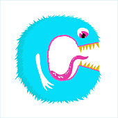 Funny furry monster letter C, english alphabet vector element isolated on a white background