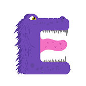 Funny furry monster letter E, english alphabet vector element isolated on a white background